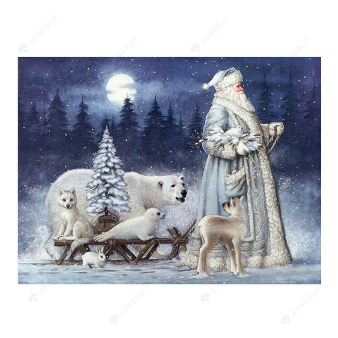 Diamond Painting-Partial Drill Christmas Santa Claus Bear Snow Scene