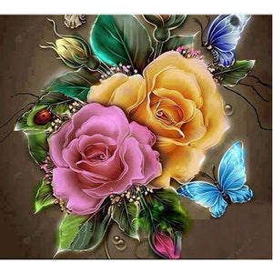 Diamond Painting-Partial Drill Charming Flowers