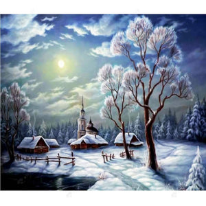 Diamond Painting-5D Full Round Drill Snow Scenery