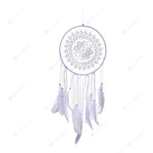 Dream Catcher-White Fred Lace Catcher Feather Car Wall Hang Decor Craft