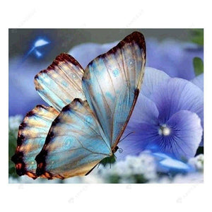 Diamond Painting-Partial Round Drill Blue Butterfly