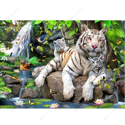 Diamond Painting-Partial Drill White Tiger Family