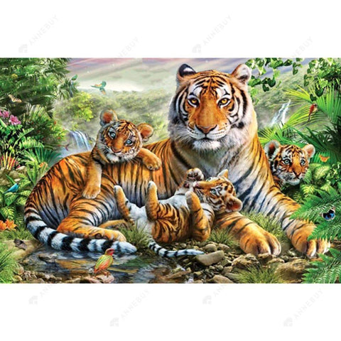 Diamond Painting-Partial Drill Tiger Familyest