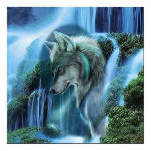 Diamond Painting-Partial Drill Waterfall Wolf