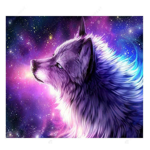 Diamond Painting-Partial Drill Purple Wolf