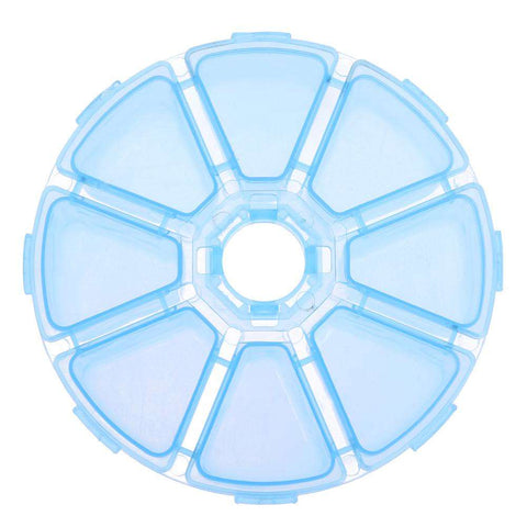 Drill Storage Box-8 Compartment Round Clear Plastic Fashion Drill Storage Box