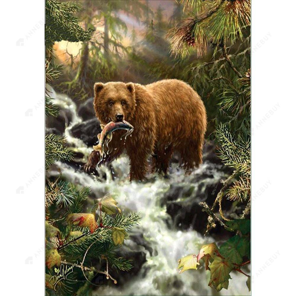 Diamond Painting-Partial Drill Bears Eat Fish