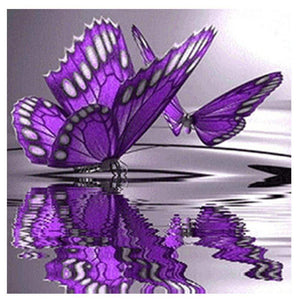Diamond Painting-Partial Round Drill Purple Butterfly on Water
