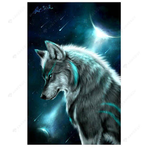 Diamond Painting-Partial Drill Moonlit Night Wolf