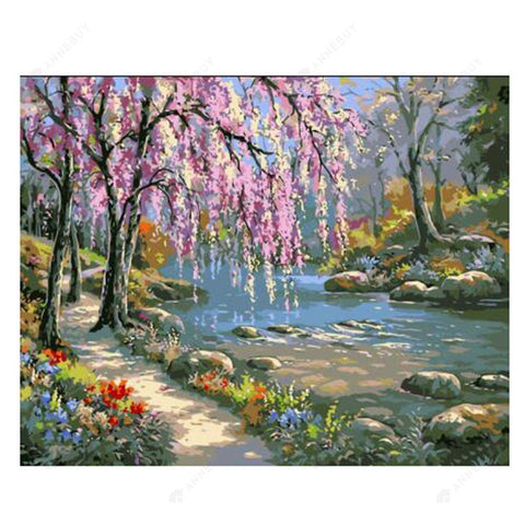 Paint By Numbers-DIY Romantic Creek Oil Painting on Canvas