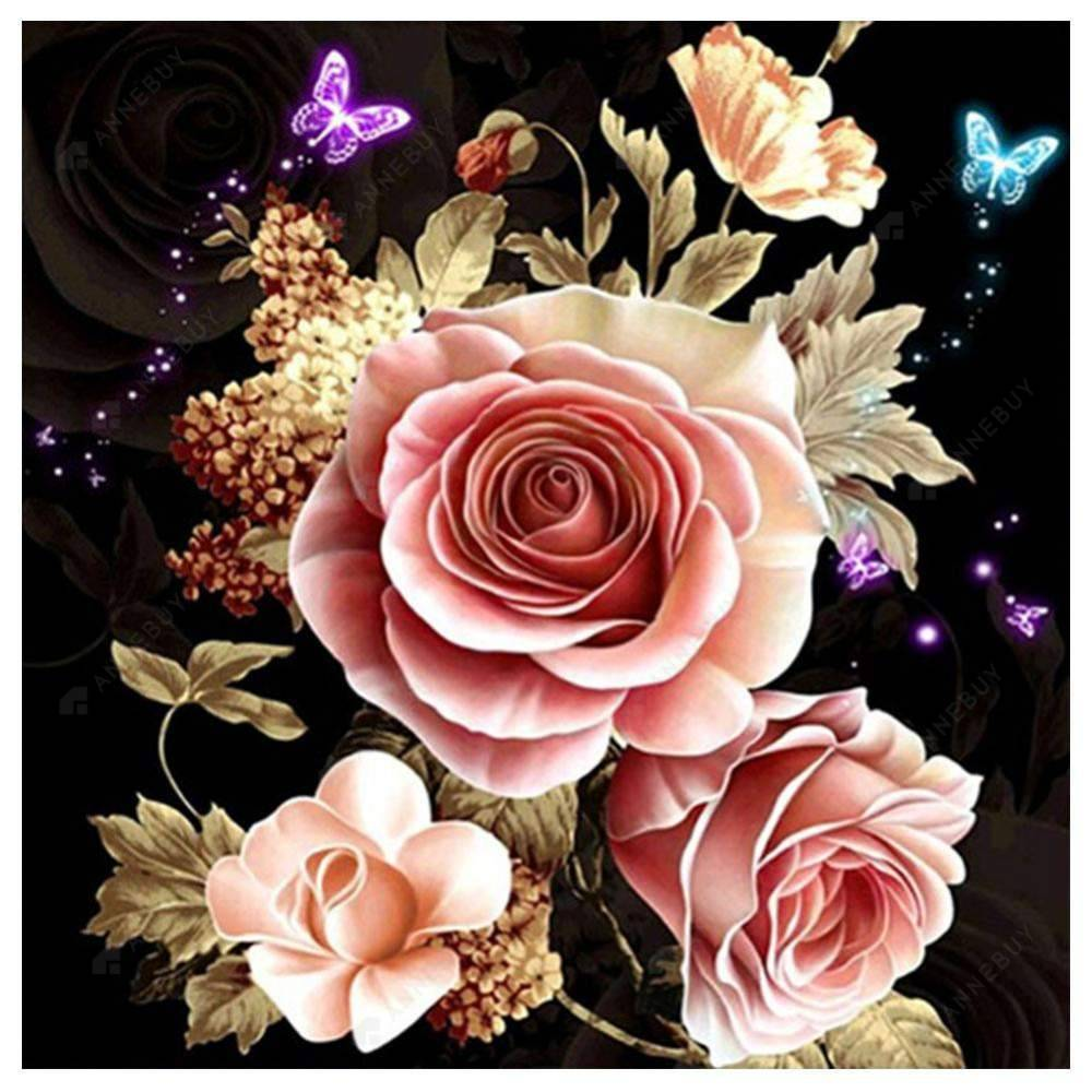 Diamond Painting-Partial Drill Pink Rose Cross