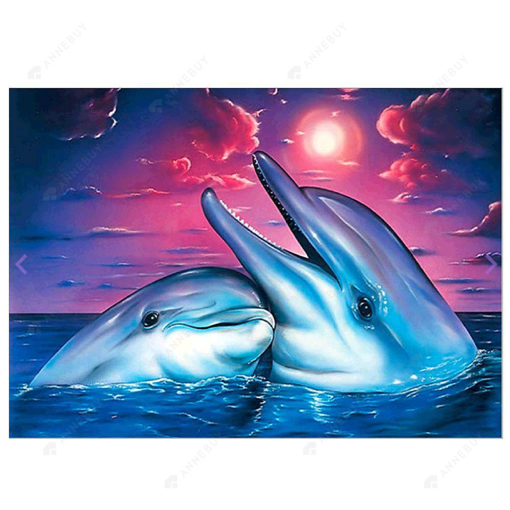 Diamond Painting-Partial Drill Two Dolphins