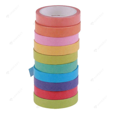 Scrapbooking-10pcs Colorful Paper Tape Adhesive Sticker