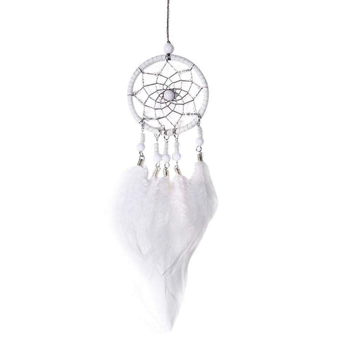 Dream Catcher-Handmade Catcher with Feather Wall Car Home Hang Decor White
