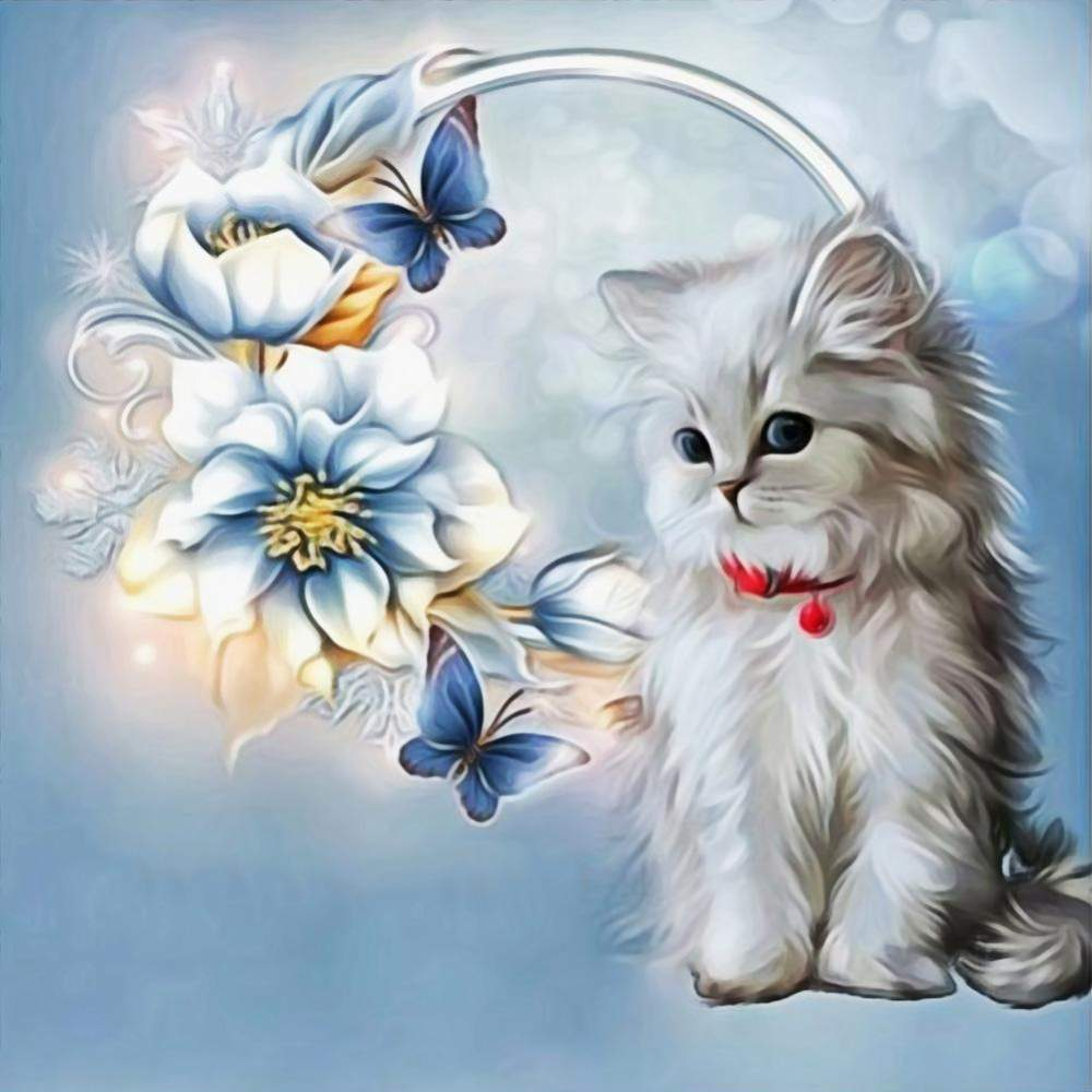 Diamond Painting-Partial Round Drill Cat with Flowers