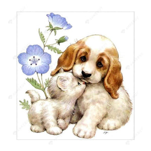 Diamond Painting-Partial Drill Dog and Cat