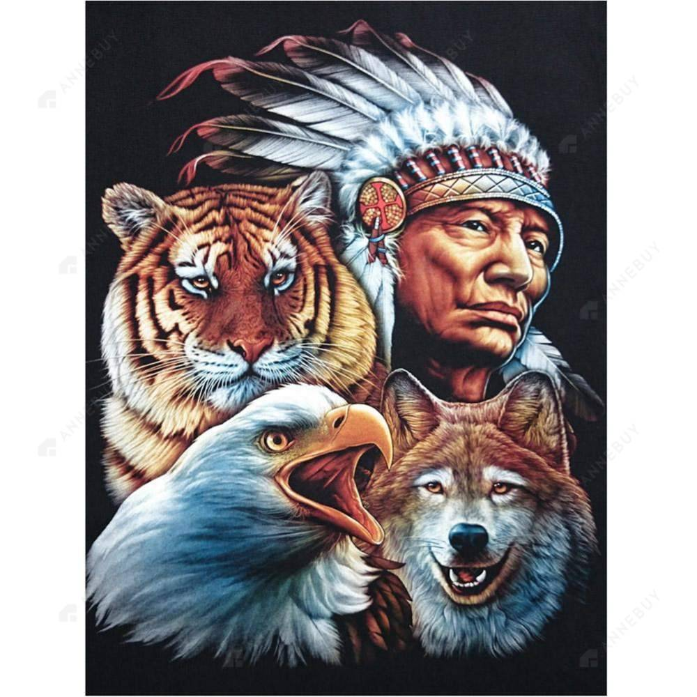 Diamond Painting-Partial Drill Tribal Leader Animal