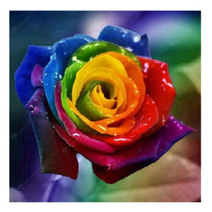 Diamond Painting-Partial Drill Rainbow Rose