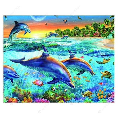 Diamond Painting-Partial Drill Dolphins