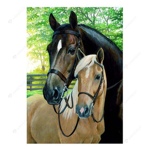 Diamond Painting-5D Full Round Drill Horses