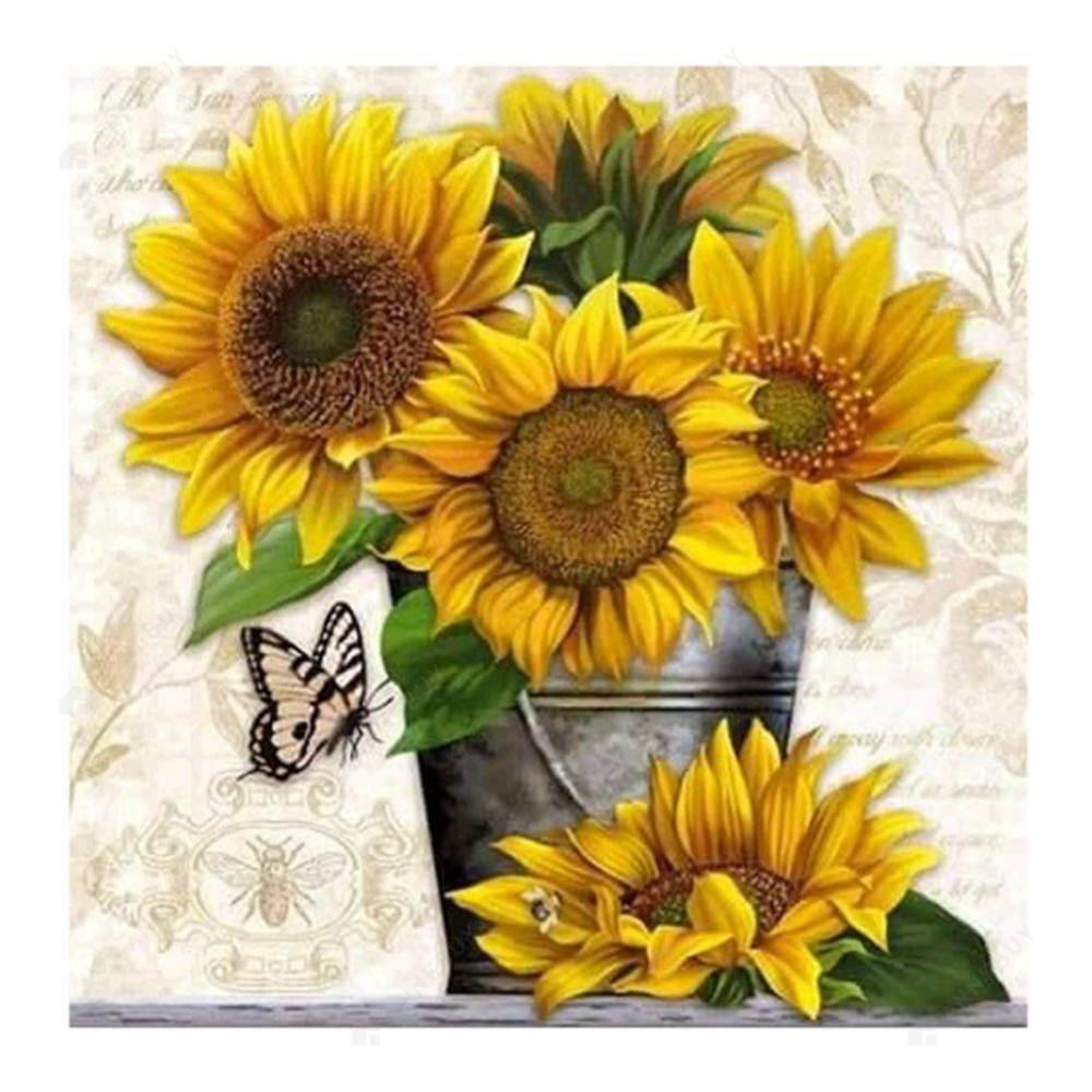 Diamond Painting-Partial Drill Round Beads Sunflowers
