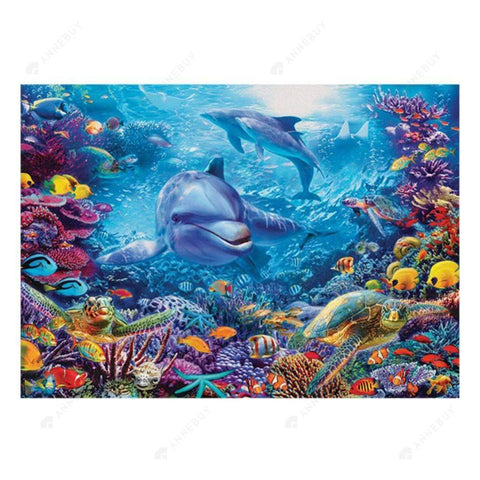 Diamond Painting-5D Full Round Drill Dolphin