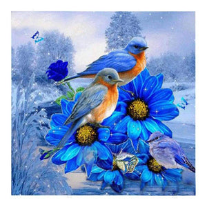 Diamond Painting-Partial Drill Round Beads Blue Bird