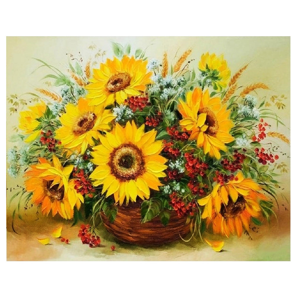 Diamond Painting-5D Full Round Drill Sunflowers