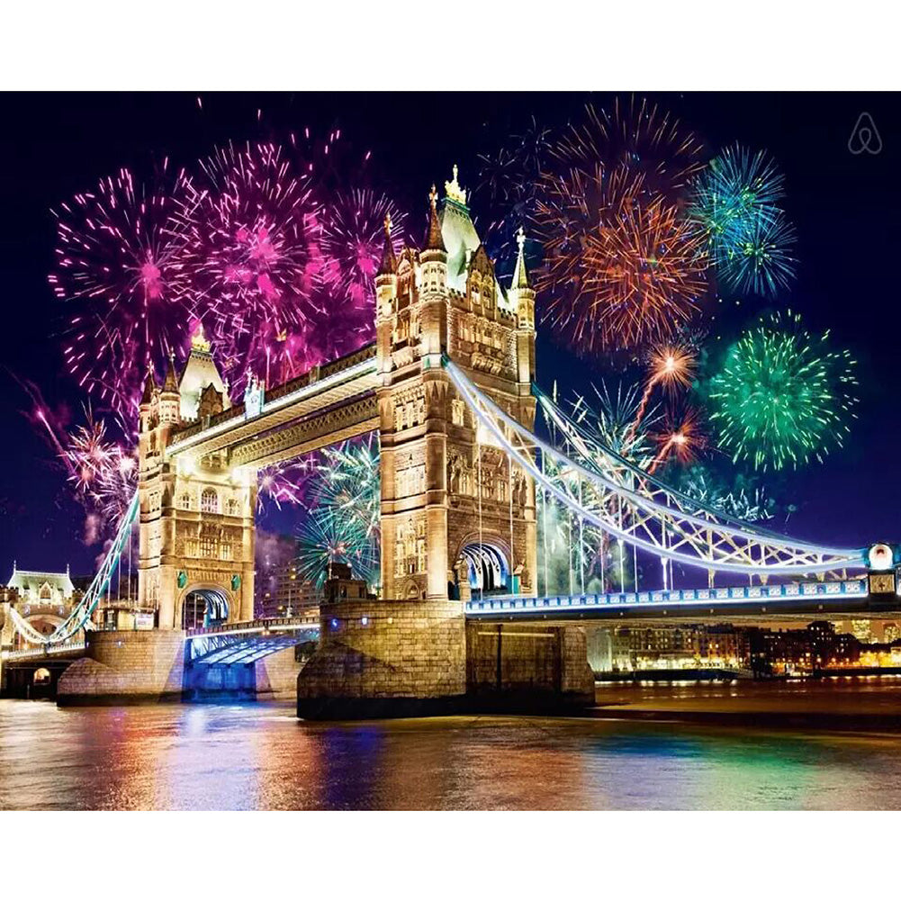Diamond Painting-5D Full Round Drill Fireworks Bridge