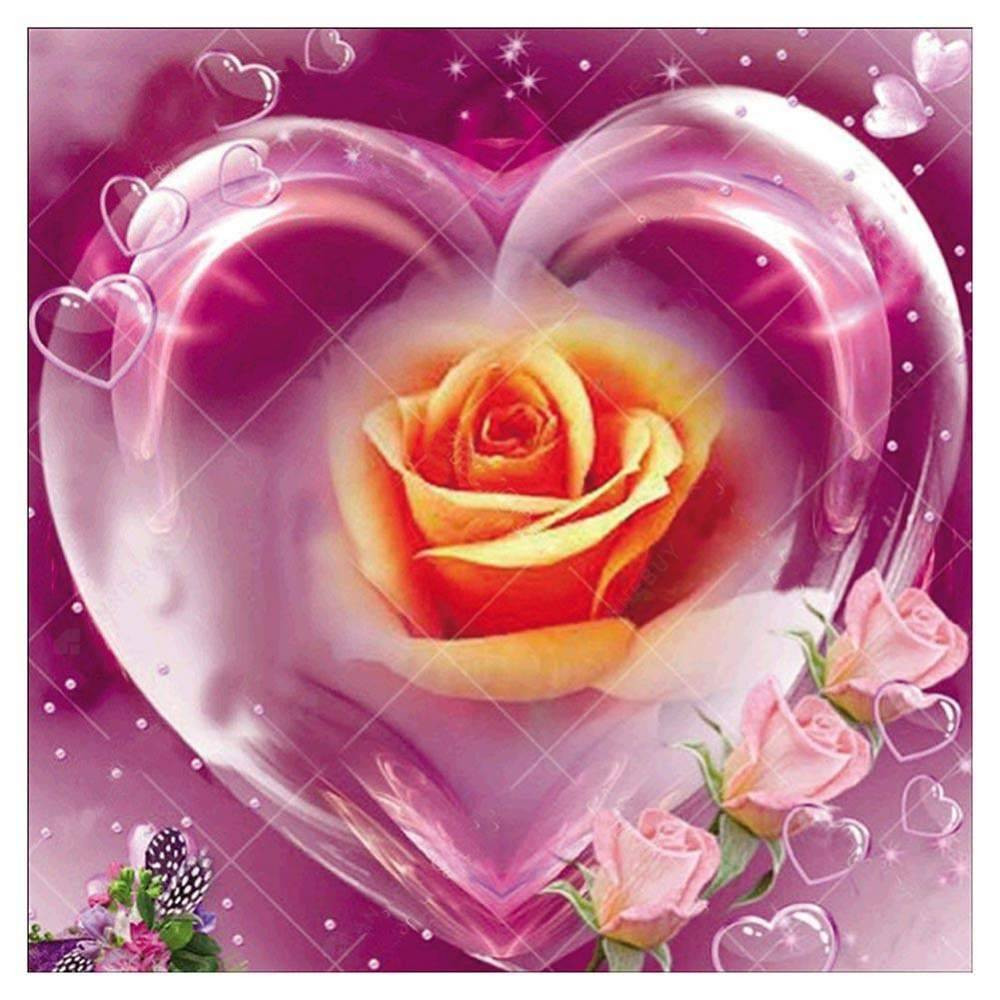 Diamond Painting-5D Full Round Drill Heart Pink Rose