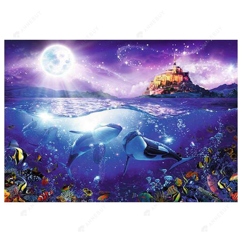 Diamond Painting-5D Full Drill Dolphins Castle