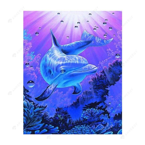 Diamond Painting-Partial Drill Free Dolphin