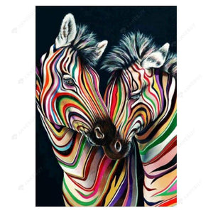 Diamond Painting-5D Full Drill Colourful Zebras