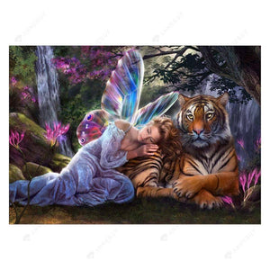 Diamond Painting-Partial Round Drill Tiger and Fairy