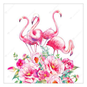 Diamond Painting-Partial Drill Pink Bird Flower