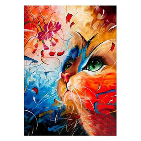 Diamond Painting-5D Full Drill Colorful Cat