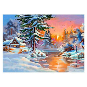 Diamond Painting-5D Full Round Drill Snow Village