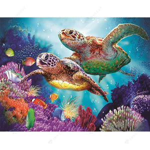 Diamond Painting-Partial Drill Round Beads Turtles Sea