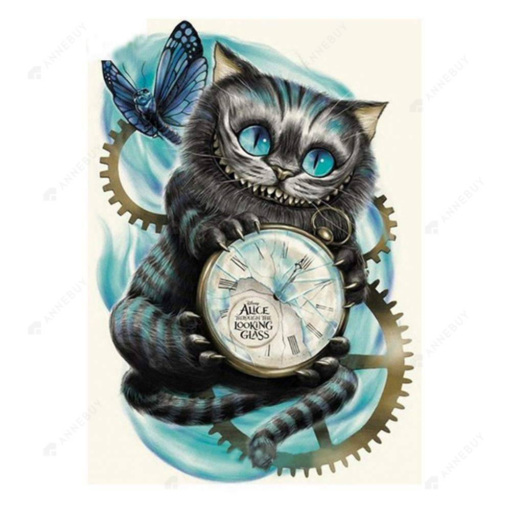 Diamond Painting-Partial Round Drill Cat Hold Clock