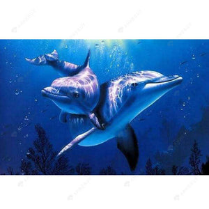Paint By Numbers-5D DIY Dolphins Abstract Digital Oil Picture Kits