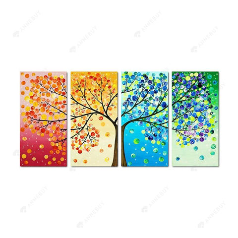 Diamond Painting-5D Full Round Drill 4pcs Colorful Tree