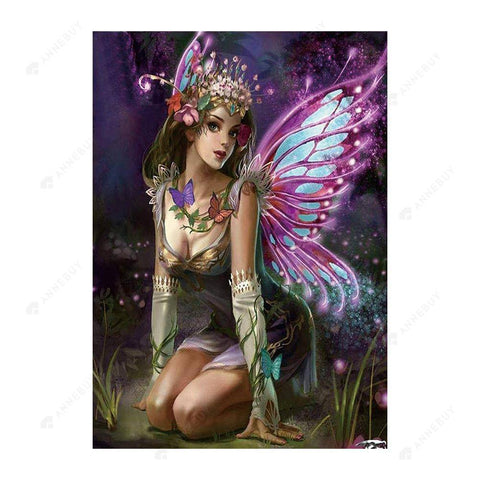 Diamond Painting-5D Full Drill Purple Fairy
