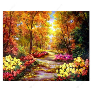 Diamond Painting-DIY Full Round Drill Forest Path Scenery