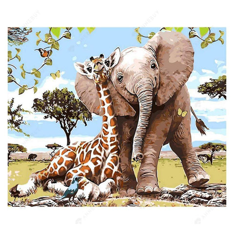 Diamond Painting-5D Full Drill Giraffe Elephant