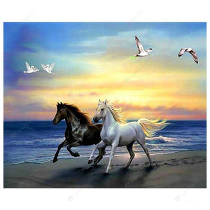 Diamond Painting-5D Partial Round Drill Horses