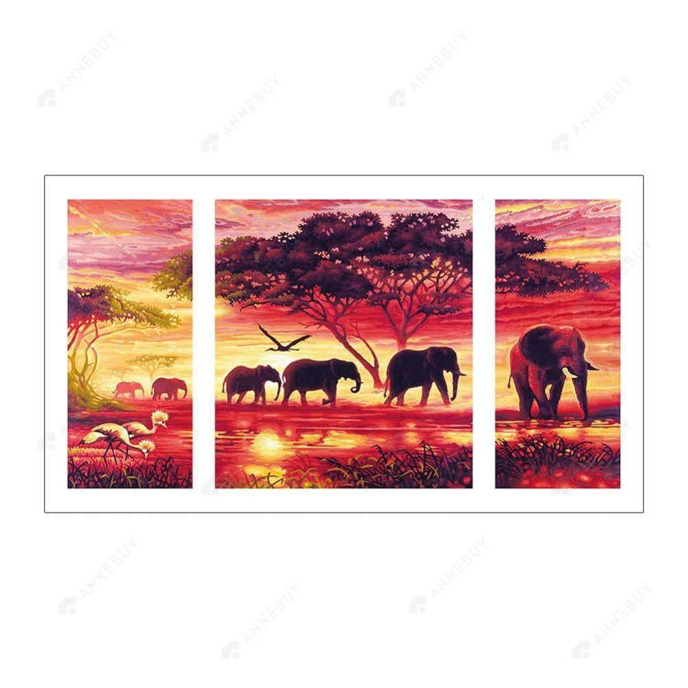 Diamond Painting-5D Full Drill 3pcs Elephant