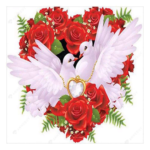 Diamond Painting-5D Full Drill Rose Love Pigeon