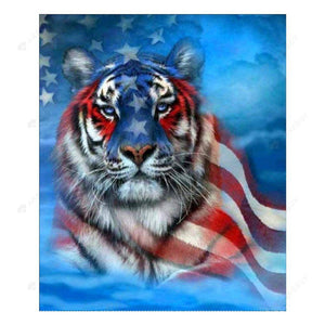 Diamond Painting-5D Full Drill The US Flag Tiger