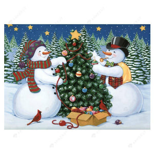 Diamond Painting-5D Full Drill Snowman Christmas Tree