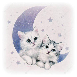 Diamond Painting-5D Full Drill Cute Cats Moon